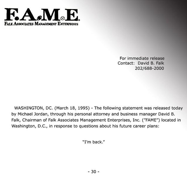 I'm Back fax from Michael Jordan