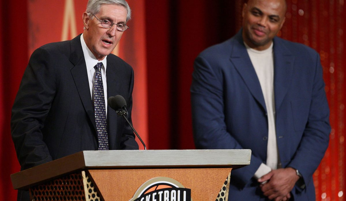 SPRINGFIELD, MA - SEPTEMBER 11:  Charles Barkley presents Coach Jerry Sloan to the Naismith Memorial Basketball Hall of Fame during an induction ceremony on September 11, 2009 in Springfield, Massachusetts. NOTE TO USER: User expressly acknowledges and agrees that, by downloading and or using this Photograph, user is consenting to the terms and conditions of the Getty Images License Agreement(Photo by Jim Rogash/Getty Images)