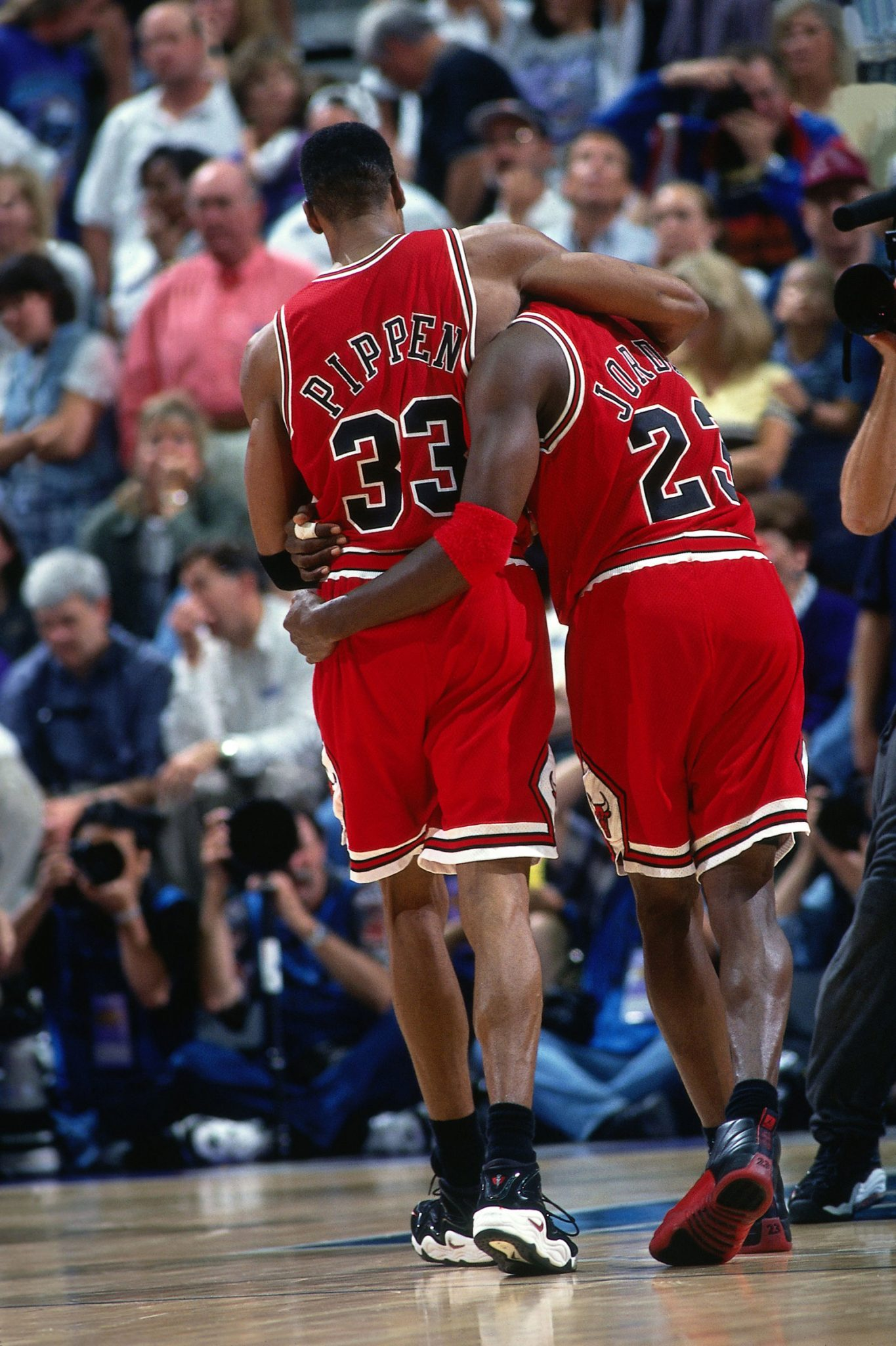 Jordan wasn't even sure he would play when he arrived at the Delta Center, but 38 points and a Bulls' win later, Pippen was there to help him off the court.
