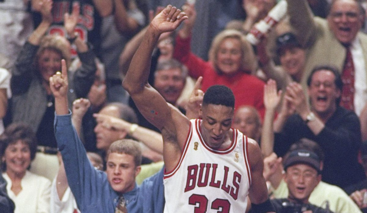 Scottie Pippen #33 of the Chicago Bulls celebrates after the Bulls win game 6 of the 1997 NBA Finals at the United Center in Chicago, Illinois. The Bulls defeated the Jazz 90-86 to win the series and claim the championship.