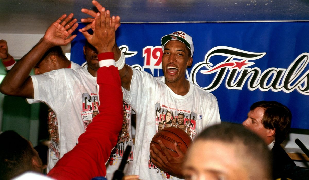 Scottie Pippen celebrating after the Bulls win their first title.