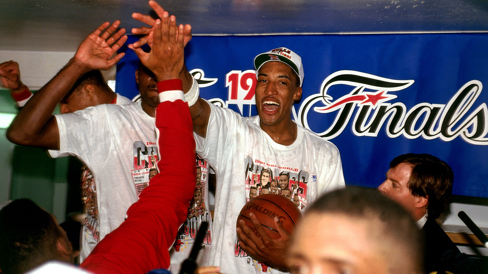 Scottie Pippen celebrates after defeating the Los Angeles Lakers in Game Five of the NBA Finals to win the championship.
