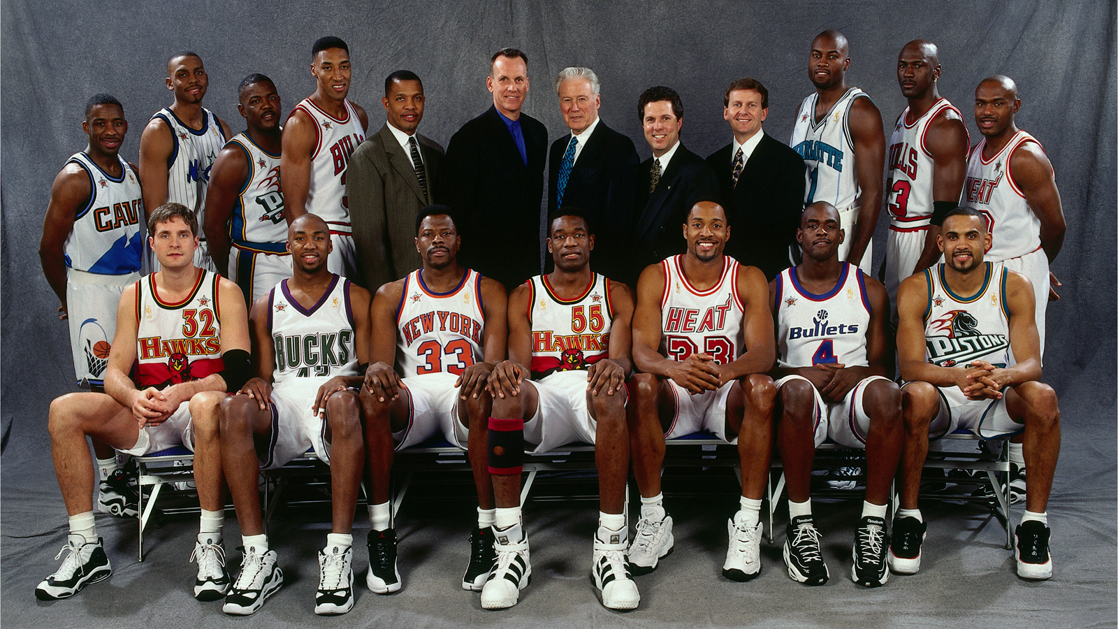 The Eastern Conference All-Stars pose for a portrait prior to the 1997 NBA All-Star Game in Cleveland, Ohio.