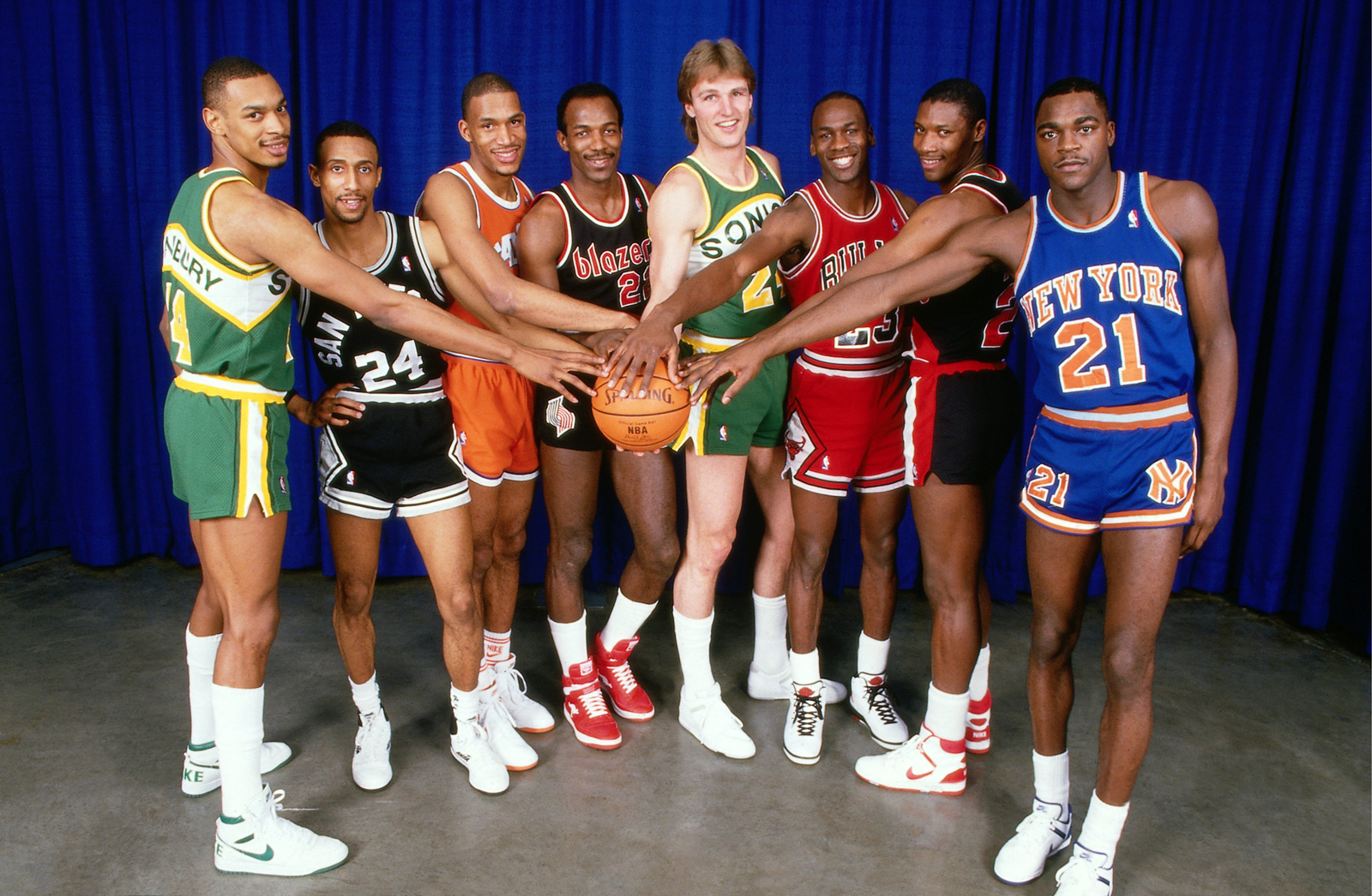 Michael Jordan (third from right) poses for a portrait prior to the 1987 Slam Dunk Contest.
